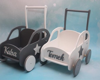Personalized Walker ECO friendly Handmade  Wooden Plush Toys Buggy Stroller, Pram, Mover,Walker. With Child's  NAME. Customized colors.