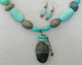 Caged Rock Pendant, Rare Fossil Coral, Turquoise, Magnesite, Antique Slag Glass, Wood Beads, Asymmetrical Necklace Set,by SandraDesigns