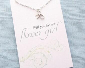 Flower Girl Gift | Tiny Bow Necklace, Flower Girl Proposal, Flower Girl Necklace, Bridesmaid Gift, Flower Girl Basket, Wedding | B01