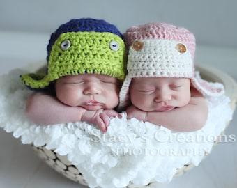 Crochet Aviator Hat, Crochet Baby Hat, Baby Aviator Hat, Newborn Aviator Hat, Baby Boy Hat, Baby Girl Hat, Infant Aviator Hat, Pink, Blue
