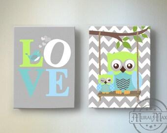Baby Boy Owl Wall art, Owl Nursery Decor - Blue and Green Boy Room Decor - OWL canvas art, Owl Decor nursery art , Nursery Wall Art