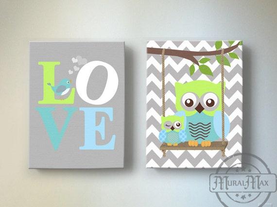 Baby Boy Owl Wall Art Owl Nursery Decor Blue And Green Boy