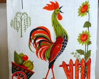 Mint Parisian Prints Kitchen Tea Towel With Rooster
