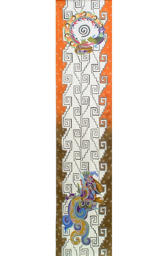 Mayan art hand made batik silk scarf with colorful background