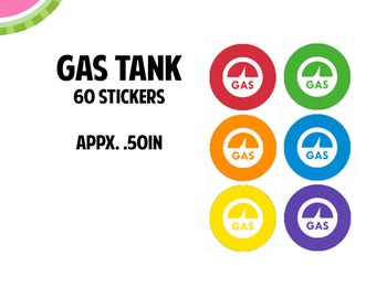 Gas Tank/Gas Pump Icon Stickers | 60 Kiss Cut Stickers | IC055