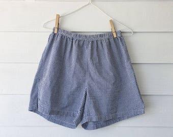 Navy gingham picnic shorts