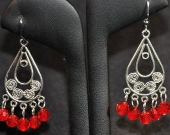 Silver Chandelier Earrings with Red Swarovski Crystals