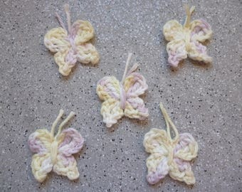 5 butterflies in cotton crochet appliques made by hand