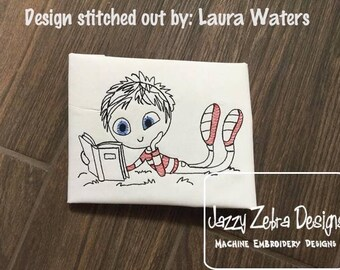 Swirly boy reading 4 sketch embroidery design - reading embroidery design - boy embroidery design - sketch embroidery design - book design