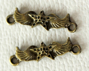 2 x Antique Bronze Star With Wings Charms