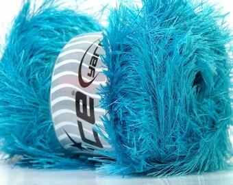 Large 100gram Turquoise Blue Eyelash Yarn Ice Fun Fur 164 Yards 22732