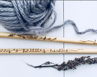 Personlised knitting needle- handburnt pyropgraphy wording of your choice - made to order