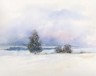 Winter sunset - Original handmade watercolor painting, winter landscape, village scenes, countryside, serenity, panoramic