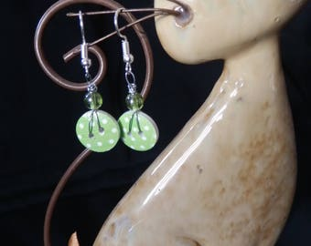 Green polka dot earrings