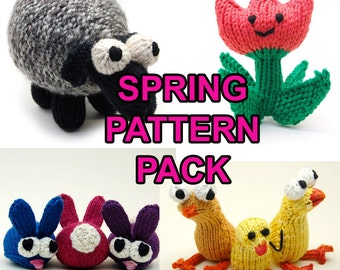 Spring/Easter Pattern Pack with Chickies, Tulip, Sheepish Lamb, & Bun Bons Digital Download PDF