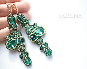 Soutache earrings Leaf