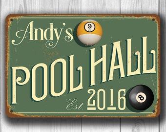 CUSTOM POOL HALL Sign, Customizable Pool Hall Signs, Vintage style Pool Hall Sign, Personalized Pool Hall sign, Gift for Him, Pool Hall
