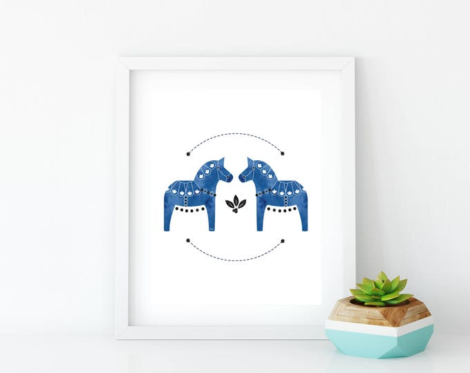 Cobalt Dala Horse Art Print, Instant Digital Download