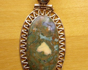 Rainforest Opal Pendant Sterling Silver Piecrust Frame Natural Opal Jewelry