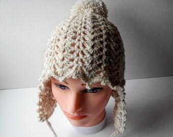 Crochet Hat Ear Flap Hat Autumn Winter Accessories handmade hat
