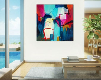 Contemporary abstract print, large abstract painting print, abstract art, living room abstract, artwork, abstract canvas art large Flying By