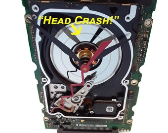 """Laptop Hard Drive on a Circuit Board Clock, Unique. """"Head Crashed"""" Disk Platter. Geek Gift, Gifts for Him, Corporate Award, Company Gift."""