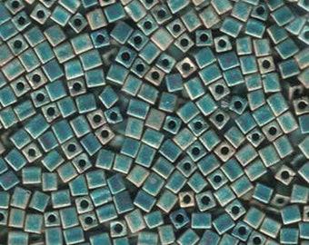 Matte Teal AB 3mm Miyuki Cube Beads 11 grams