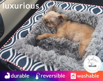 Plush Dog Bed | Luxury Dog Bed with Ultra Soft Blanket | Choose Your Fabrics & Size