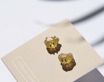 Yellow Chalcedony earrings | Mismatched earrings | Canary yellow stud earrings | Summer jewelry | Bright yellow studs |Yellow stone earrings