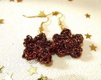 Black and copper Flower Earrings