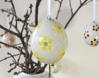 Large ceramic egg, with yellow floral decoration, ceramic jewelry, art decor