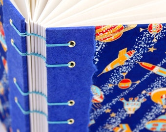 Space Journal - Coptic Journal -  Outer Space Gift - Unlined Journal - Japanese Chiyogami Paper - 160 Pages - handmade by Ruth Bleakley