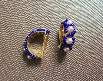 Vintage Seed Bead Faux Pearl Clip On Hoop Earrings Handmade Hong Kong 60s