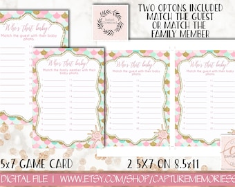 Mermaid Baby Shower Games|Who's That Baby Game|Photo Guessing Game|Printable Party Sheets|Girl Mermaid Pink Theme|Whos That Baby|Pink Gold
