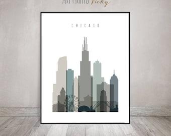 Chicago skyline, wall art, Chicago print, Poster, Illinois, Travel decor, City print, Typography art, Gift, Home Decor, ArtPrintsVicky