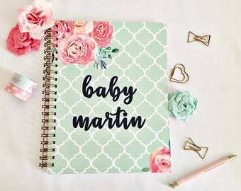 Customized Pregnancy journal, expecting mom gift, maternity gift, pregnancy keepsake and book