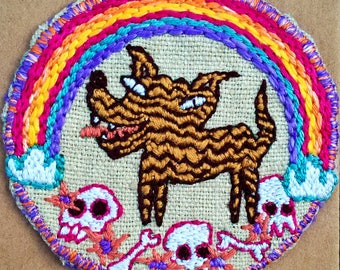Rainbow Staffy 100% silk hand embroidered patch