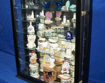 Black Wall or Tabletop Curio Cabinet Display for Collectibles