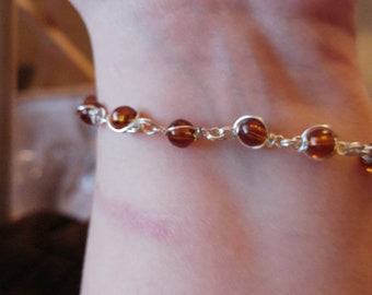 Amber bead silver wire set