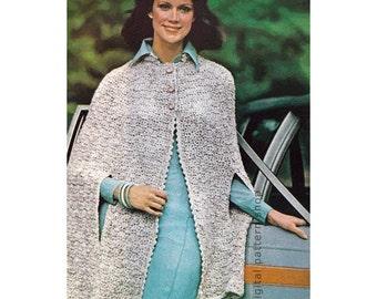 Crochet Cape Pattern Womens Vintage Short Tweed Cape Crochet Pattern Arm Openings Poncho Printable Instant Download PDF - C153