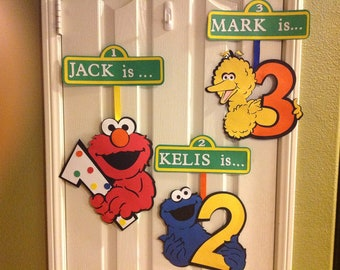 Sesame Street Party AGE Door Sign