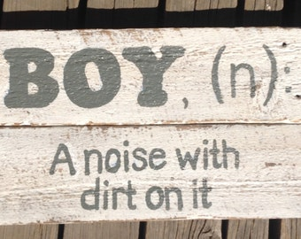 Boy (n) Barnwood Wall Sign