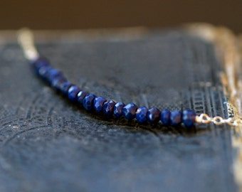 Lapis Lazuli Gemstone Necklace, Deep Blue Gem Necklace, 14k Gold Filled Chain, Simple Elegant Necklace, Everyday Necklace, Handmade Jewelry