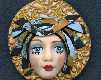 Face cab  Caned hat OOAK Polymer clay Detailed Face    Greeen  Abstract ANDF 4