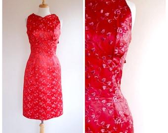 Vintage Dress / Vintage 60s Dress / 60s Sheath Dress / Red Embroidered Dress / Satin Dress / Bombshell Dress / Size Small