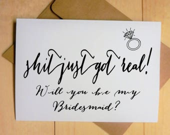 Wedding Greeting Card, Greeting Card, Wedding Card, Will You Be My Bridesmaid, Wedding Announcement , Bridesmaid Card, Funny Wedding Card