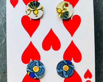 Set of 2 pair mini vintage tin earrings;upcycled tin earrings; Valentine earrings; love earrings
