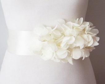 Bridal Ivory Chiffon Flower Sash Posh Ribbon Belt - Vintage Inspired Wedding Dress Sashes, Night Dress Belts