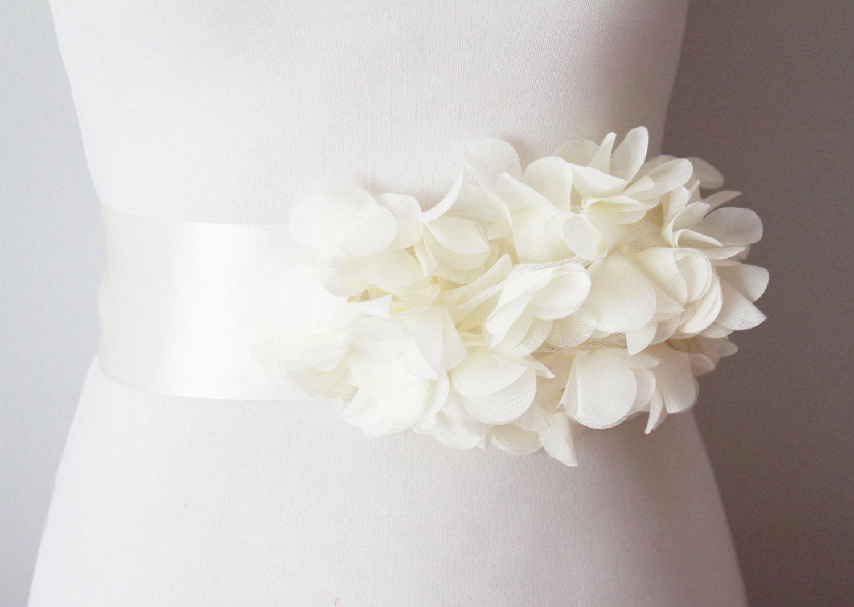 Bridal Ivory Chiffon Flower Sash Posh Ribbon Belt Vintage