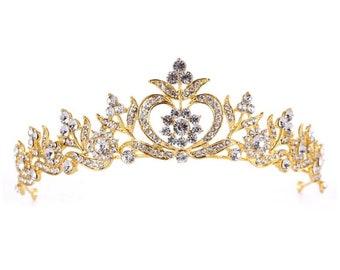 free shipping...larger stones GOLD CRYSTAL CROWN bridal crown princess crown